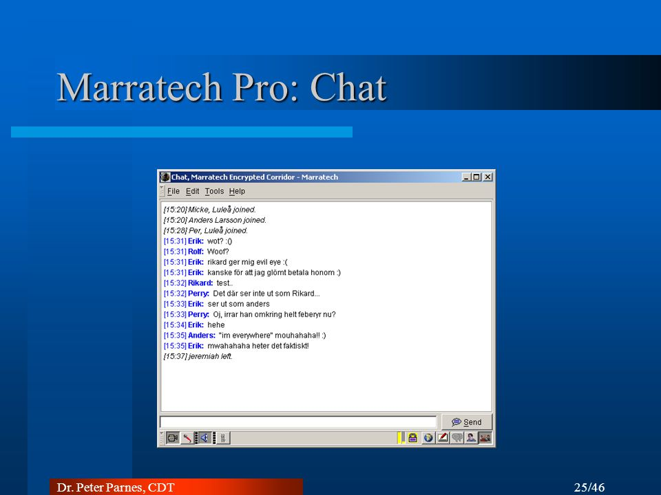 Marratech Pro: Chat Dr. Peter Parnes, CDT 25/46