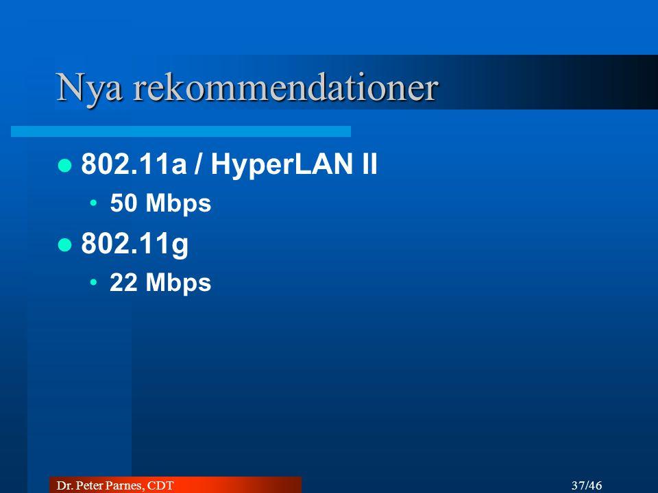 Nya rekommendationer 802.11a / HyperLAN II 802.11g 50 Mbps 22 Mbps