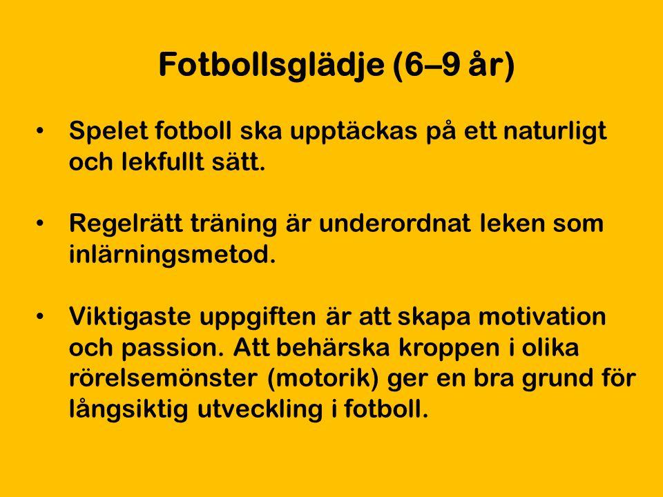 Fotbollsglädje (6–9 år) Spelet fotboll ska upptäckas på ett naturligt och lekfullt sätt. Regelrätt träning är underordnat leken som inlärningsmetod.