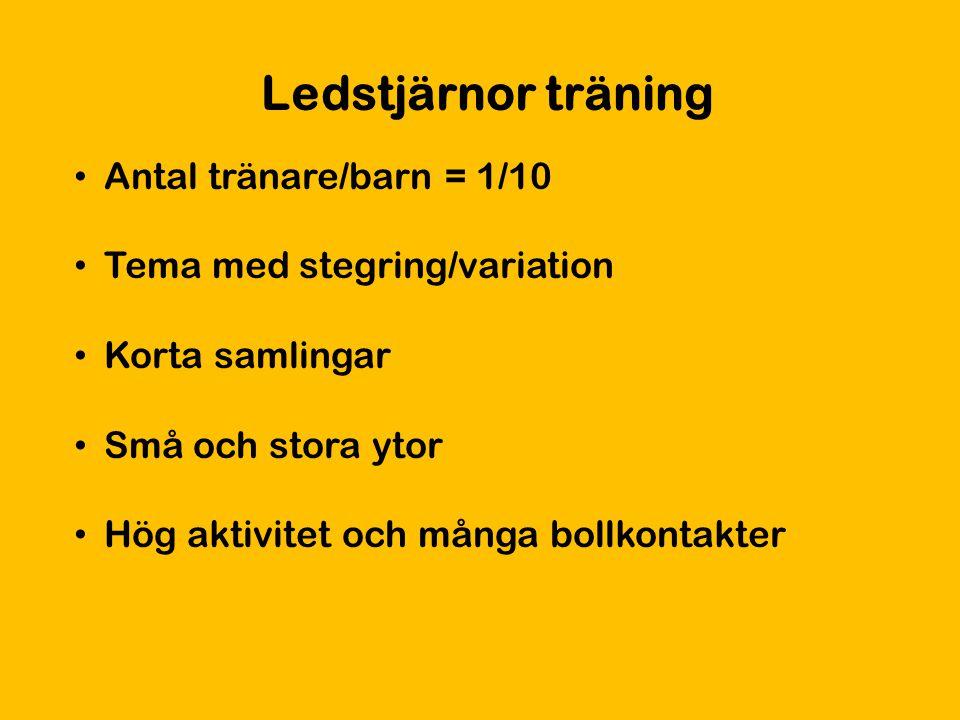 Ledstjärnor träning Antal tränare/barn = 1/10