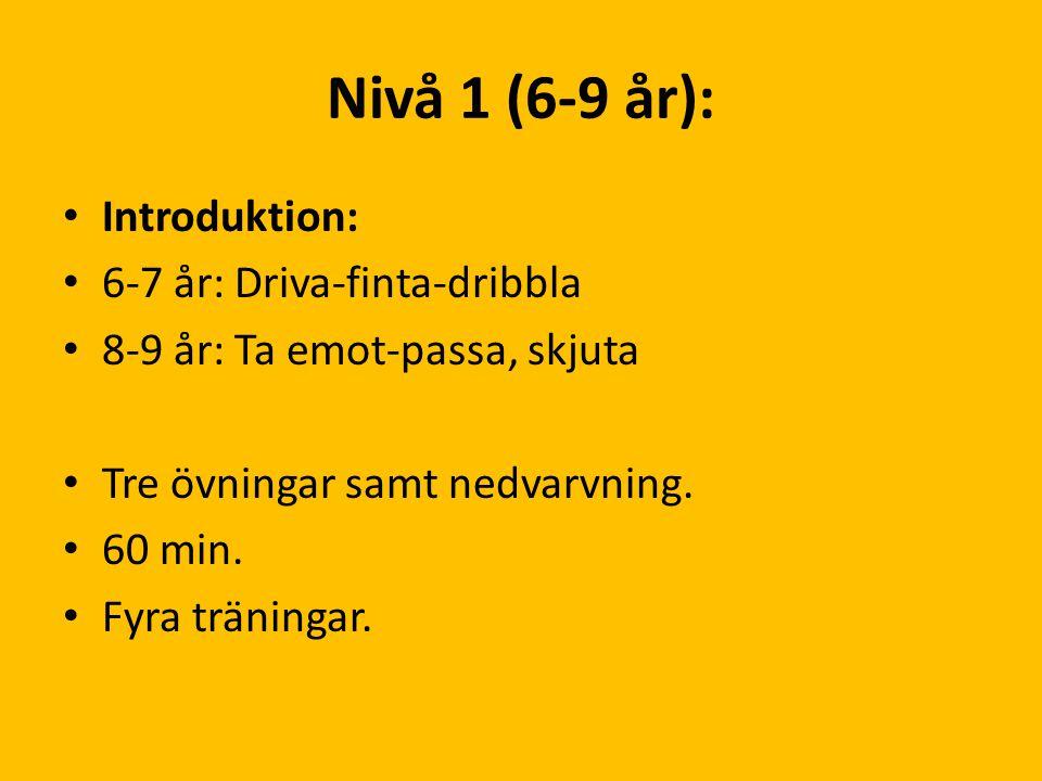 Nivå 1 (6-9 år): Introduktion: 6-7 år: Driva-finta-dribbla