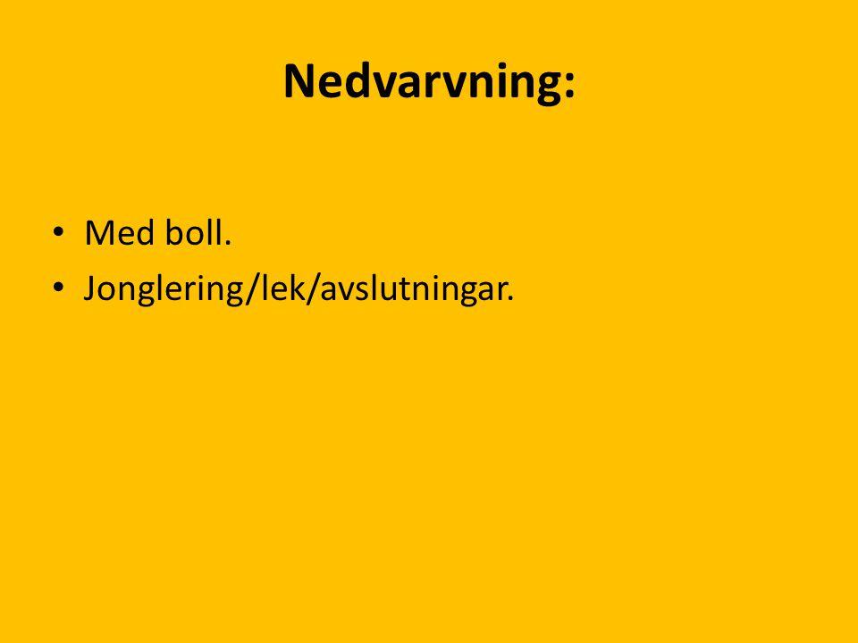 Nedvarvning: Med boll. Jonglering/lek/avslutningar.