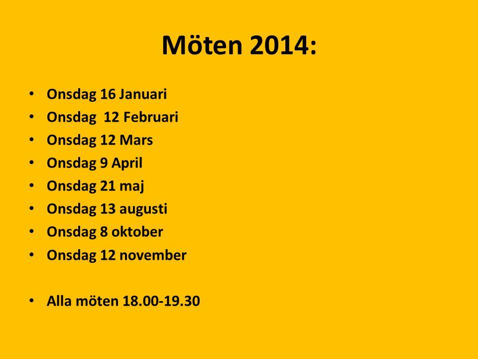 Möten 2014: Onsdag 16 Januari Onsdag 12 Februari Onsdag 12 Mars