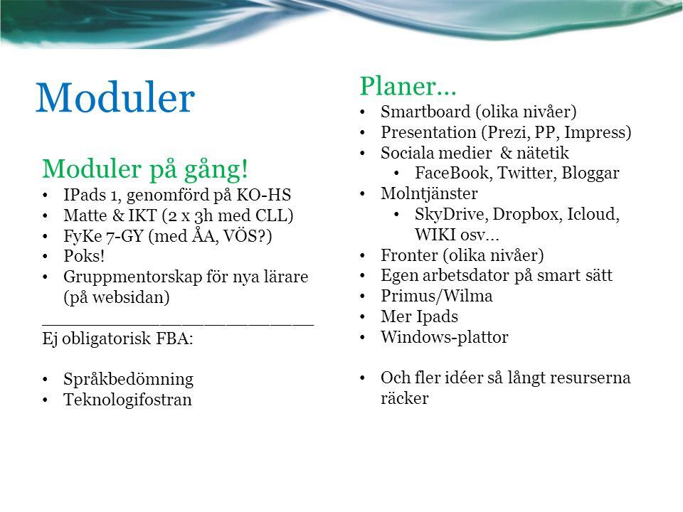Moduler Planer... Moduler på gång! Smartboard (olika nivåer)
