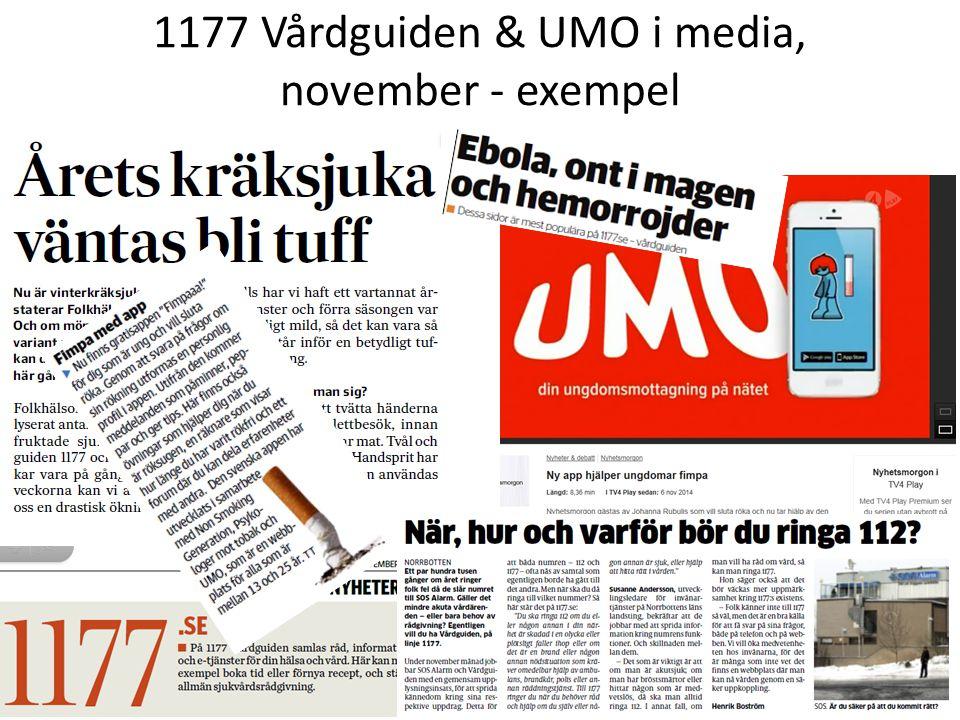 1177 Vårdguiden & UMO i media, november - exempel