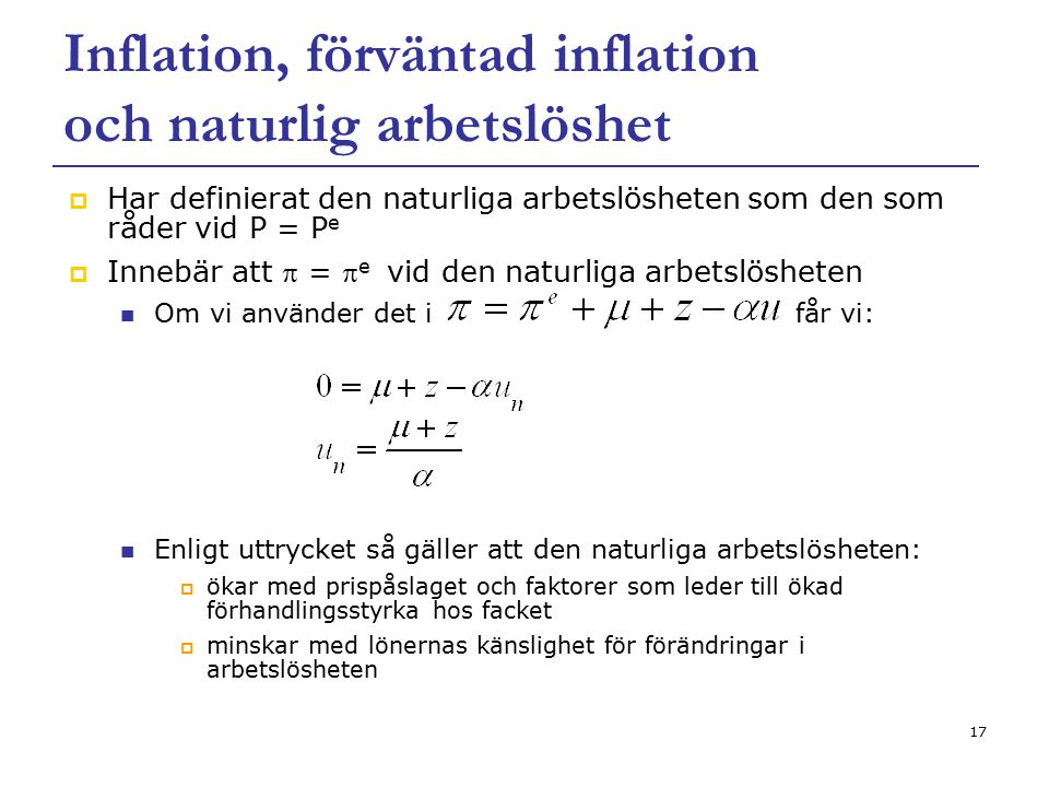 Inflation, förväntad inflation och naturlig arbetslöshet