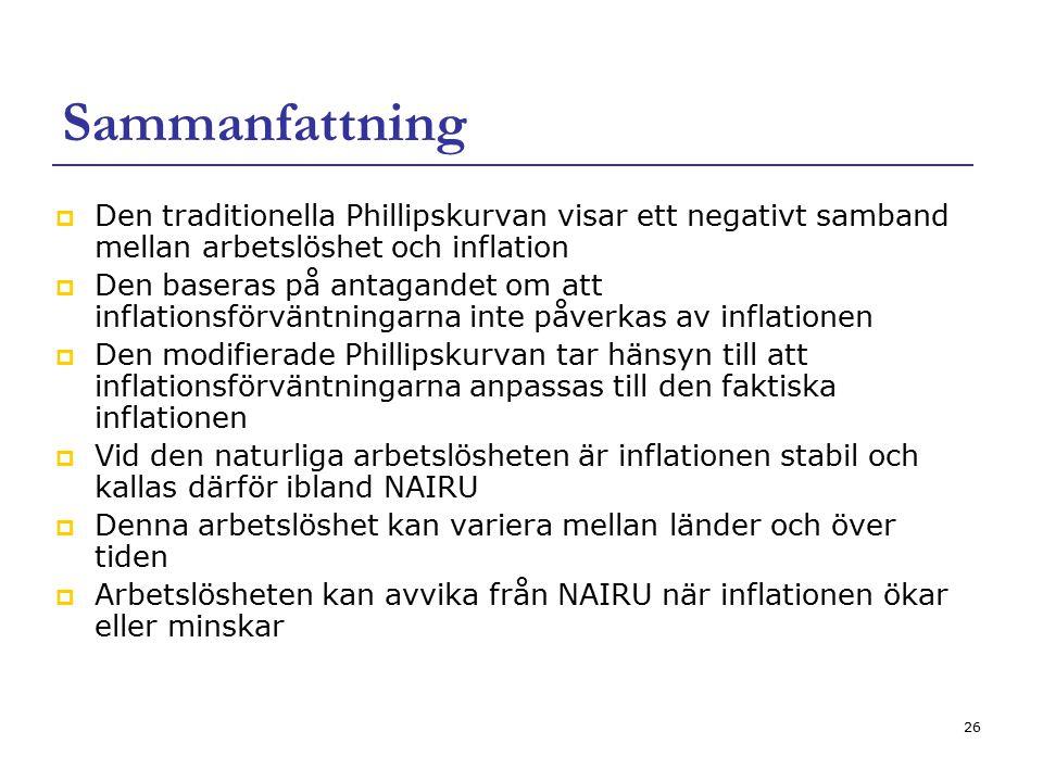 Sammanfattning Den traditionella Phillipskurvan visar ett negativt samband mellan arbetslöshet och inflation.