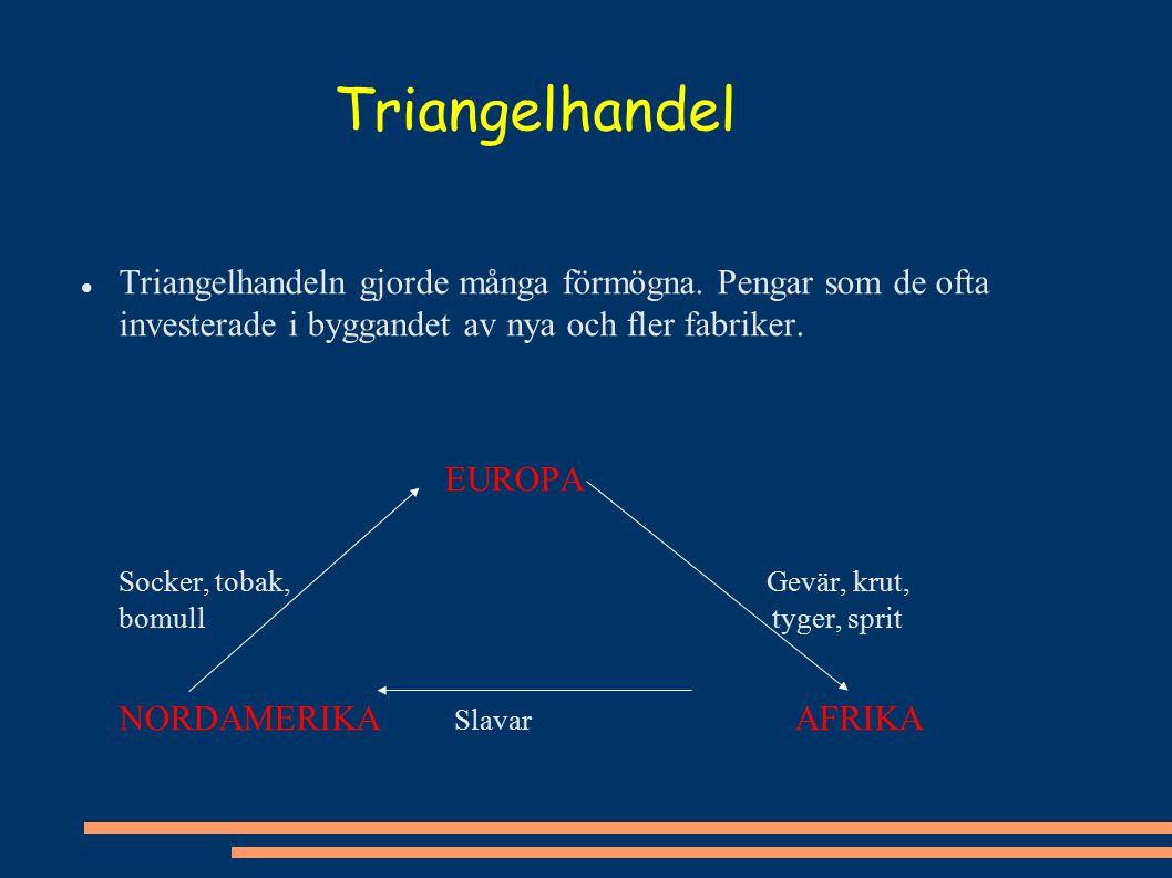 Triangelhandel Triangelhandeln gjorde många förmögna. Pengar som de ofta investerade i byggandet av nya och fler fabriker.