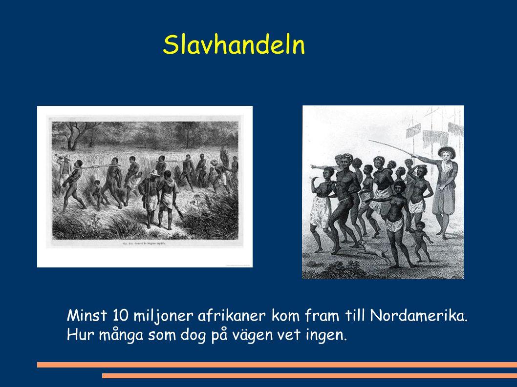 Slavhandeln Minst 10 miljoner afrikaner kom fram till Nordamerika.