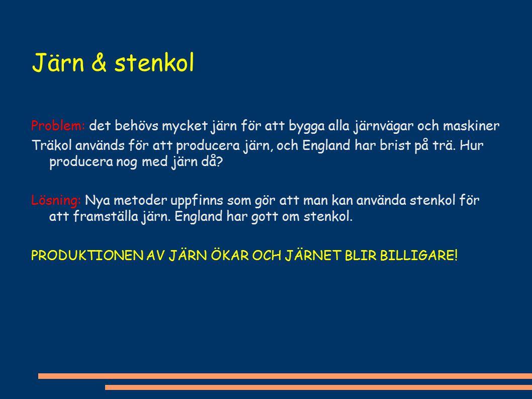 Järn & stenkol Problem: det behövs mycket järn för att bygga alla järnvägar och maskiner.