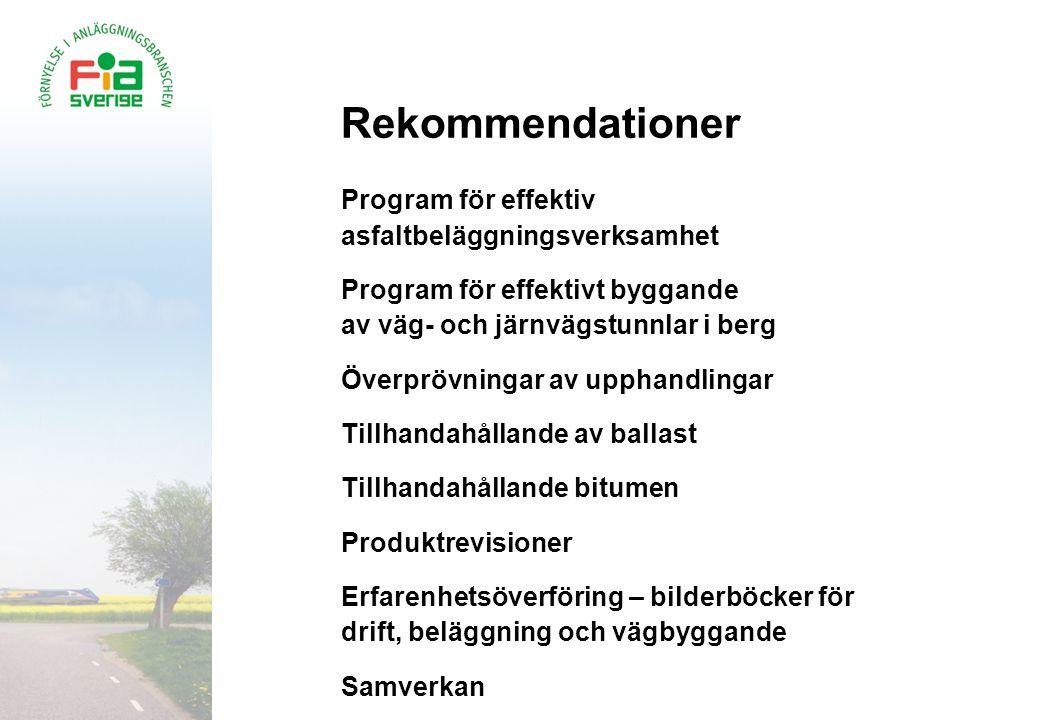 Rekommendationer Program för effektiv asfaltbeläggningsverksamhet