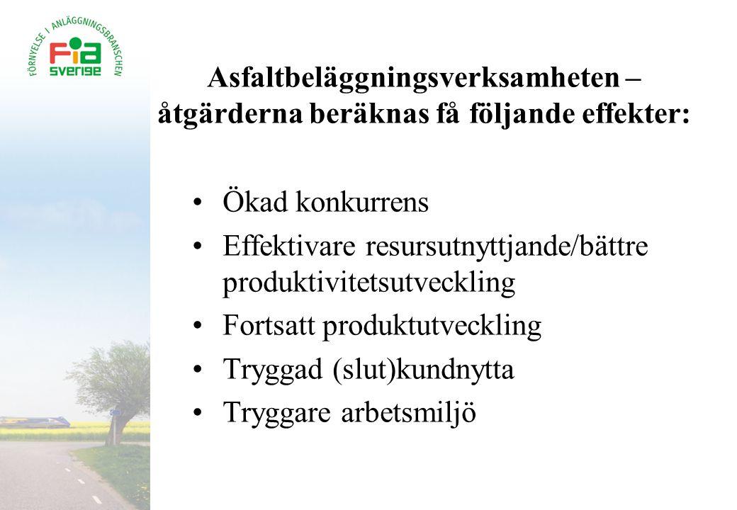 Asfaltbeläggningsverksamheten – åtgärderna beräknas få följande effekter: