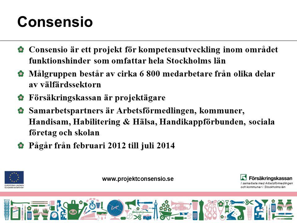 www.projektconsensio.se Consensio. Consensio är ett projekt för kompetensutveckling inom området funktionshinder som omfattar hela Stockholms län.
