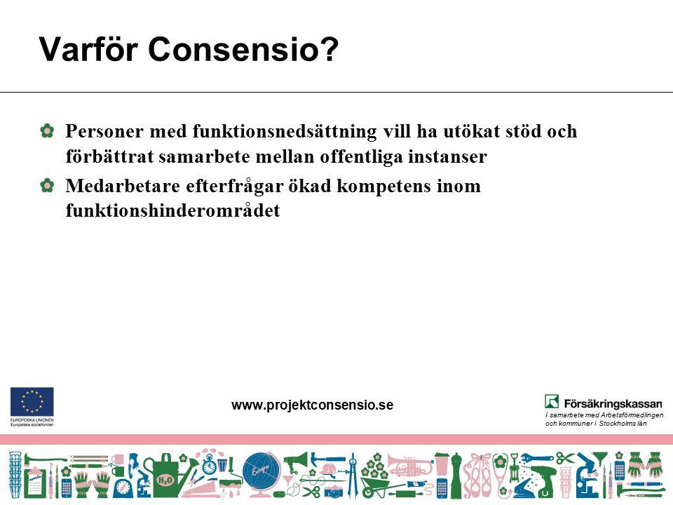 www.projektconsensio.se Varför Consensio Personer med funktionsnedsättning vill ha utökat stöd och förbättrat samarbete mellan offentliga instanser.