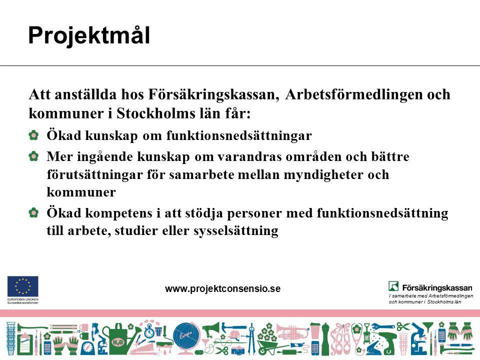 Projektmål Att anställda hos Försäkringskassan, Arbetsförmedlingen och kommuner i Stockholms län får: