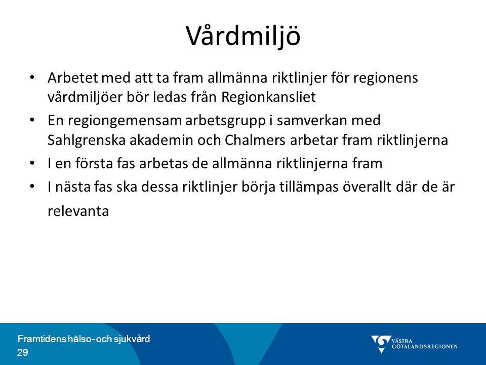 Vårdmiljö Arbetet med att ta fram allmänna riktlinjer för regionens vårdmiljöer bör ledas från Regionkansliet.