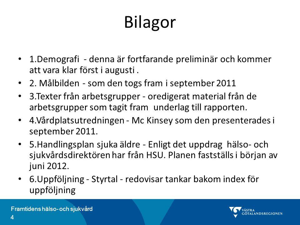 Bilagor 1.Demografi - denna är fortfarande preliminär och kommer att vara klar först i augusti . 2. Målbilden - som den togs fram i september 2011.