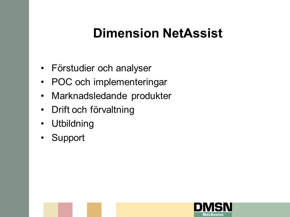 Dimension NetAssist Förstudier och analyser POC och implementeringar