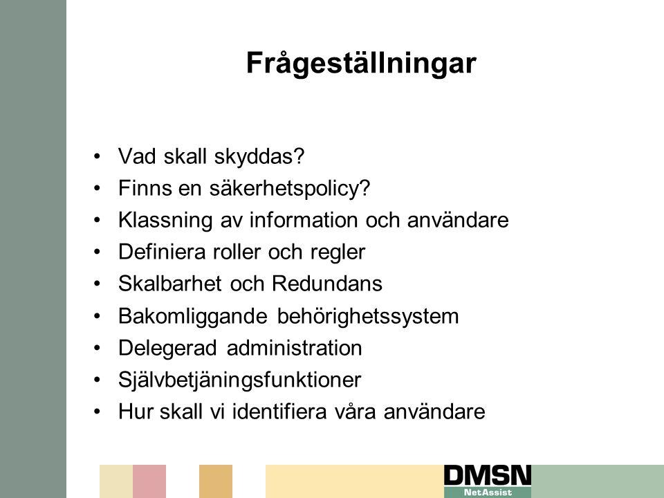 Frågeställningar Vad skall skyddas Finns en säkerhetspolicy