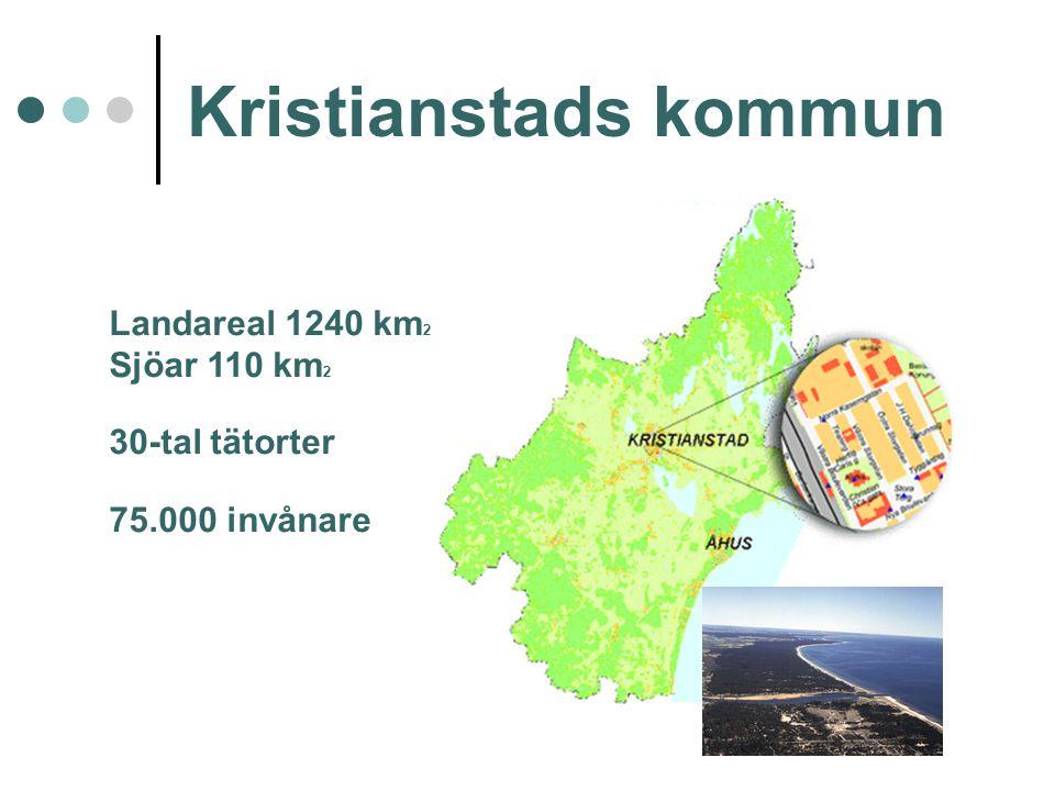 Kristianstads kommun Landareal 1240 km2 Sjöar 110 km2 30-tal tätorter