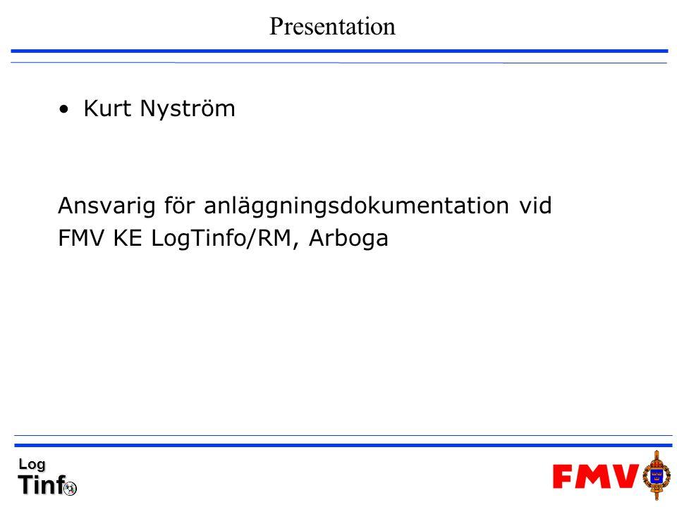 Presentation Kurt Nyström Ansvarig för anläggningsdokumentation vid