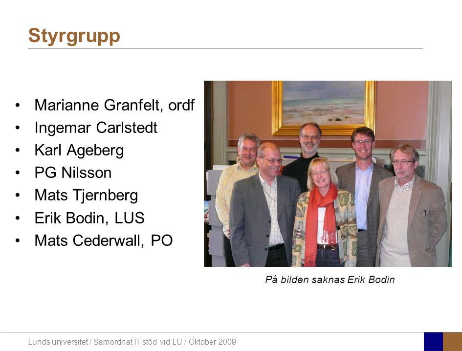 Styrgrupp Marianne Granfelt, ordf Ingemar Carlstedt Karl Ageberg