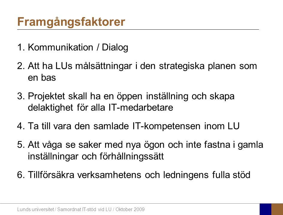 Framgångsfaktorer Kommunikation / Dialog
