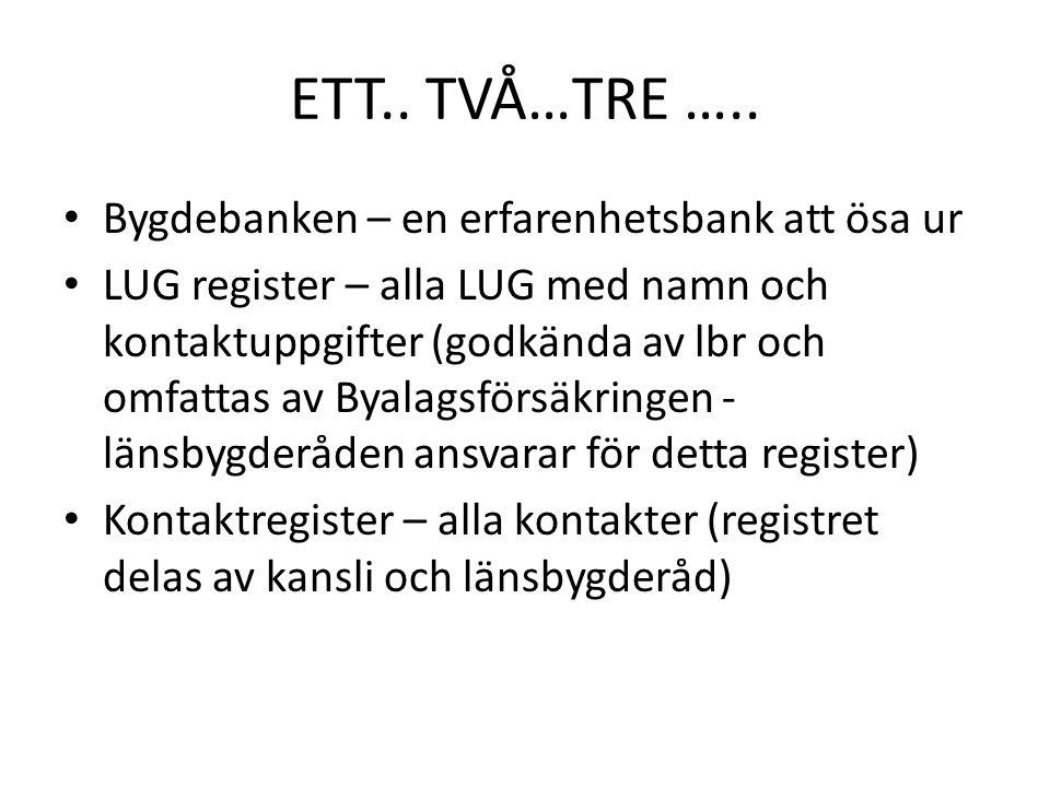 ETT.. TVÅ…TRE ….. Bygdebanken – en erfarenhetsbank att ösa ur