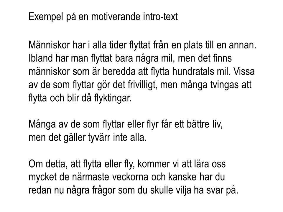 Exempel på en motiverande intro-text