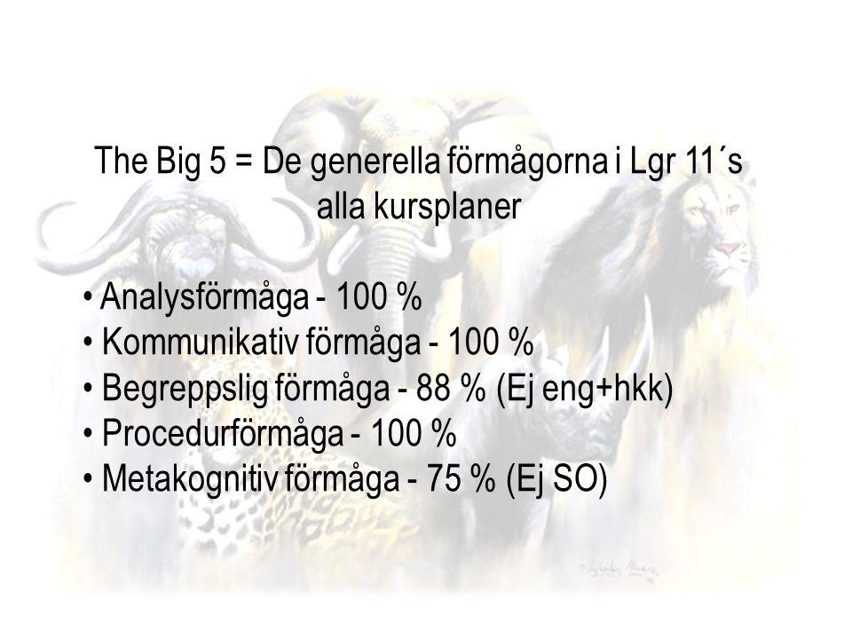 The Big 5 = De generella förmågorna i Lgr 11´s alla kursplaner