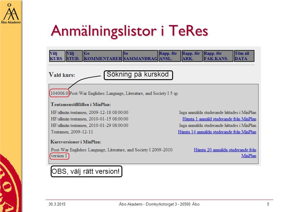Anmälningslistor i TeRes