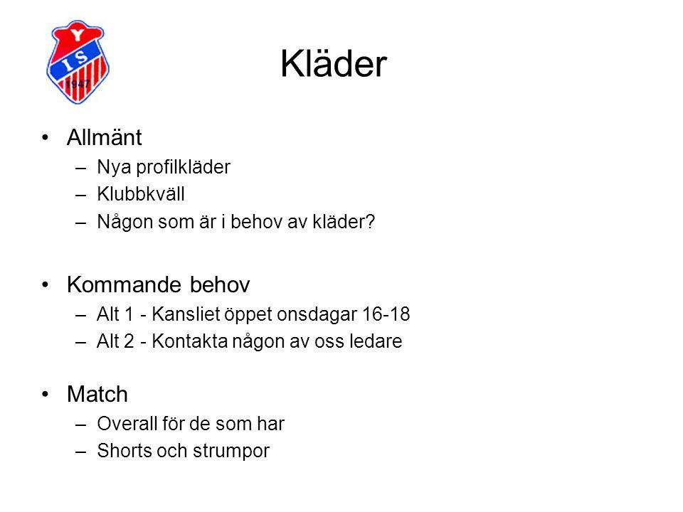 Kläder Allmänt Kommande behov Match Nya profilkläder Klubbkväll