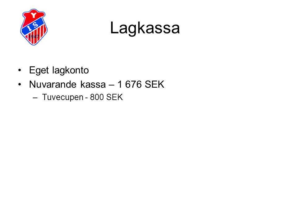 Lagkassa Eget lagkonto Nuvarande kassa – 1 676 SEK Tuvecupen - 800 SEK