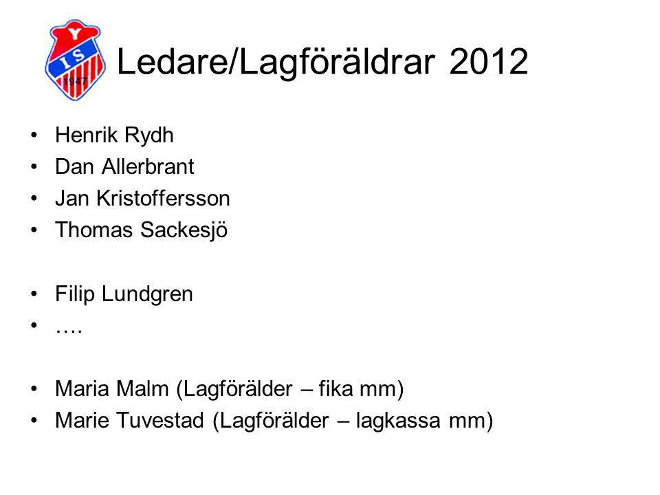 Ledare/Lagföräldrar 2012 Henrik Rydh Dan Allerbrant Jan Kristoffersson