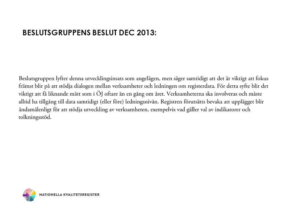 Beslutsgruppens beslut dec 2013: