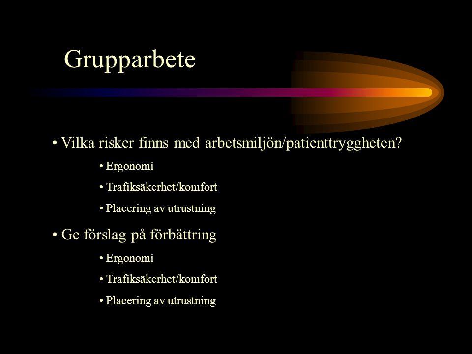 Grupparbete Vilka risker finns med arbetsmiljön/patienttryggheten