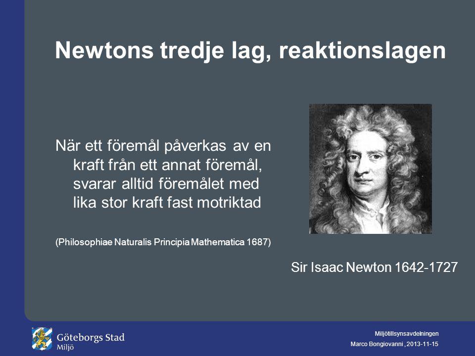 Newtons tredje lag, reaktionslagen