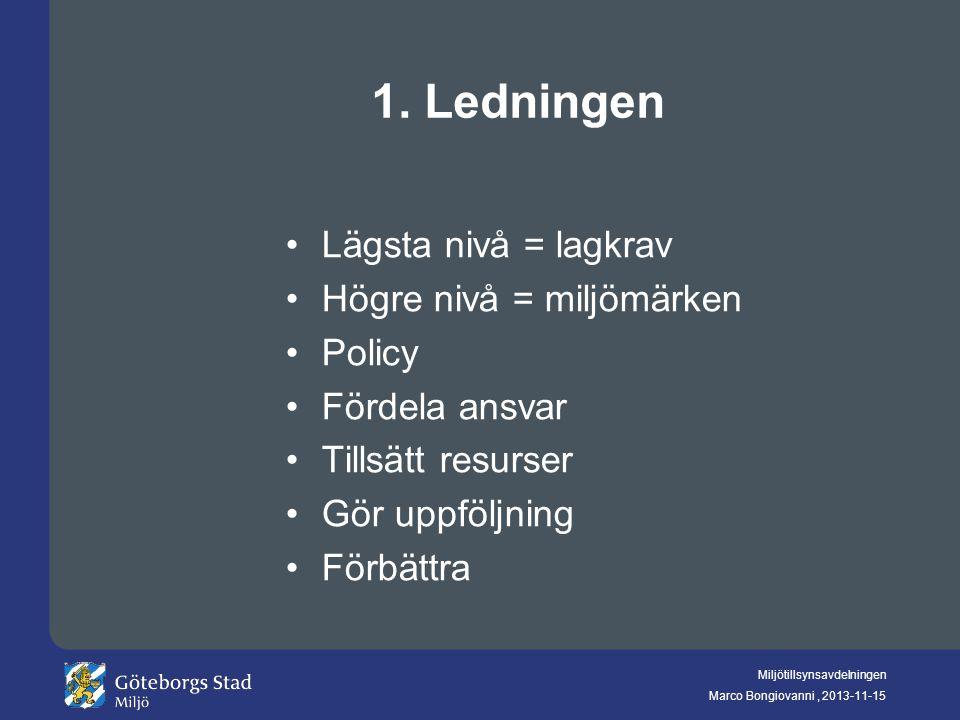 1. Ledningen Lägsta nivå = lagkrav Högre nivå = miljömärken Policy