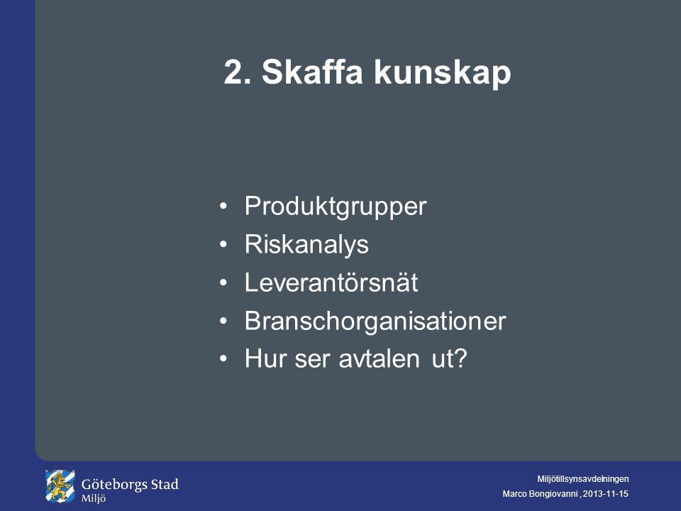 2. Skaffa kunskap Produktgrupper Riskanalys Leverantörsnät