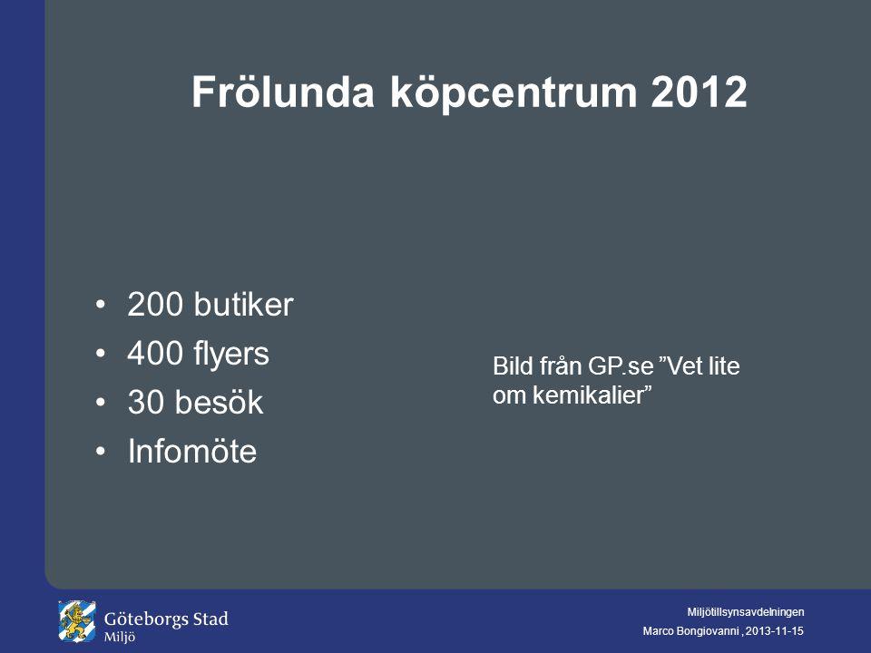 Frölunda köpcentrum 2012 200 butiker 400 flyers 30 besök Infomöte
