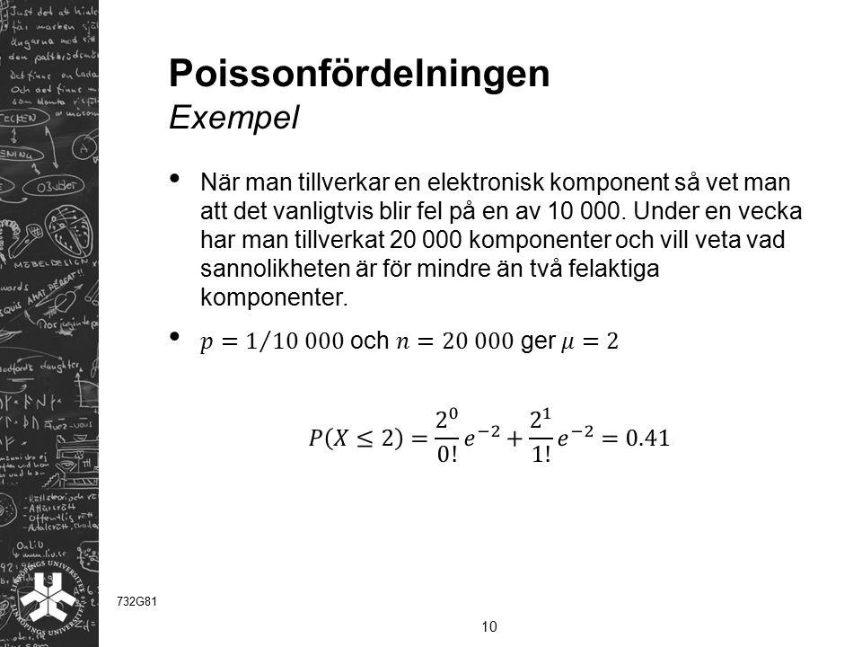 Poissonfördelningen Exempel