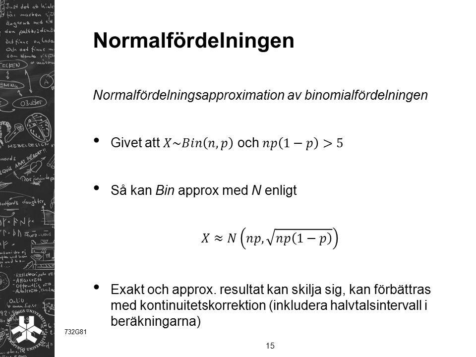 Normalfördelningen Normalfördelningsapproximation av binomialfördelningen. Givet att 𝑋~𝐵𝑖𝑛 𝑛,𝑝 och 𝑛𝑝 1−𝑝 >5.