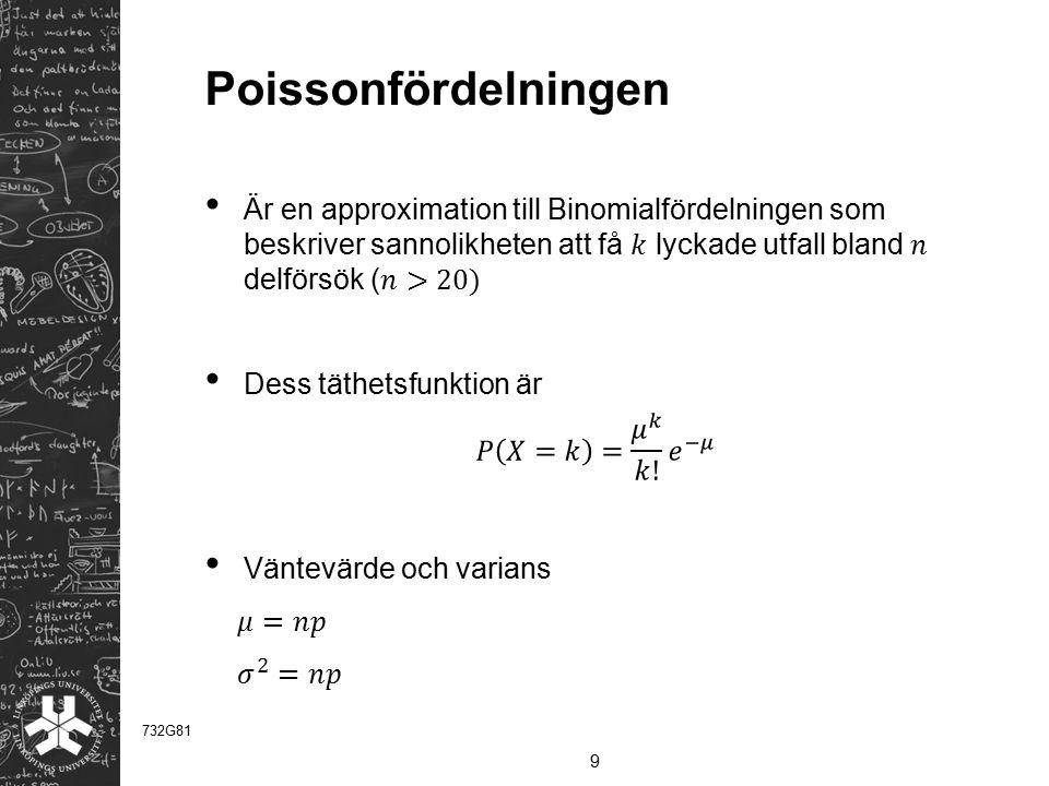 Poissonfördelningen Är en approximation till Binomialfördelningen som beskriver sannolikheten att få 𝑘 lyckade utfall bland 𝑛 delförsök (𝑛>20)