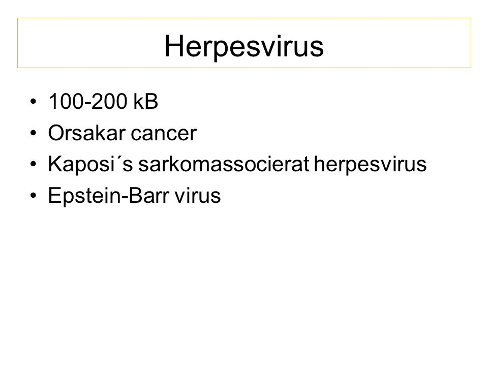 Herpesvirus 100-200 kB Orsakar cancer