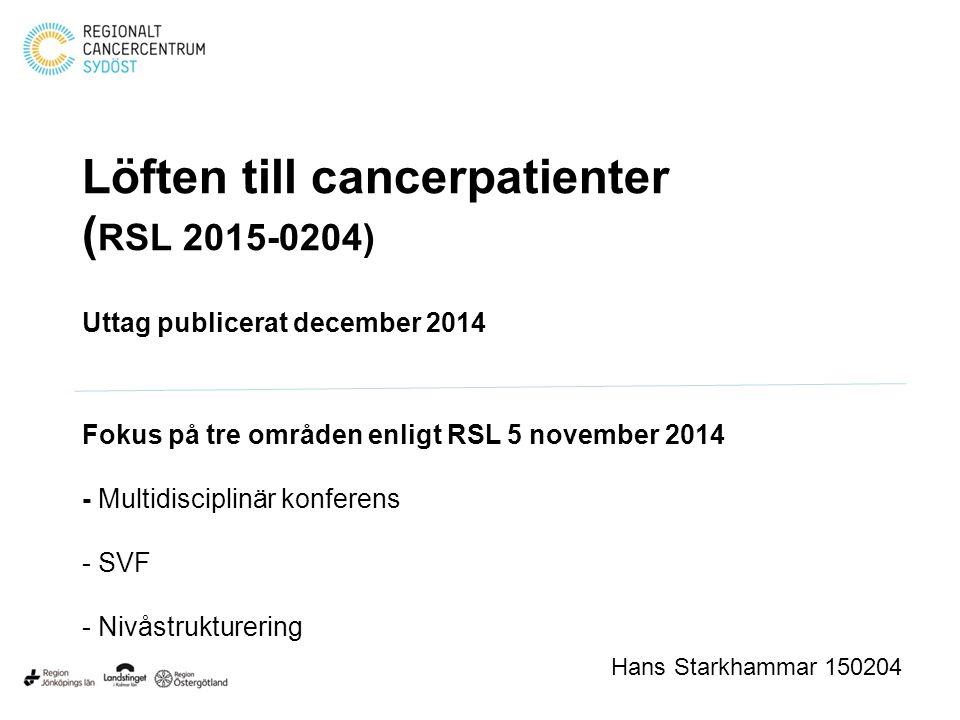 Löften till cancerpatienter (RSL 2015-0204)