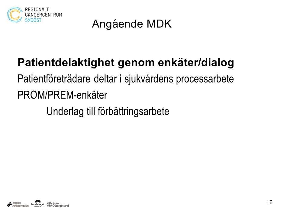 Angående MDK Patientdelaktighet genom enkäter/dialog. Patientföreträdare deltar i sjukvårdens processarbete.