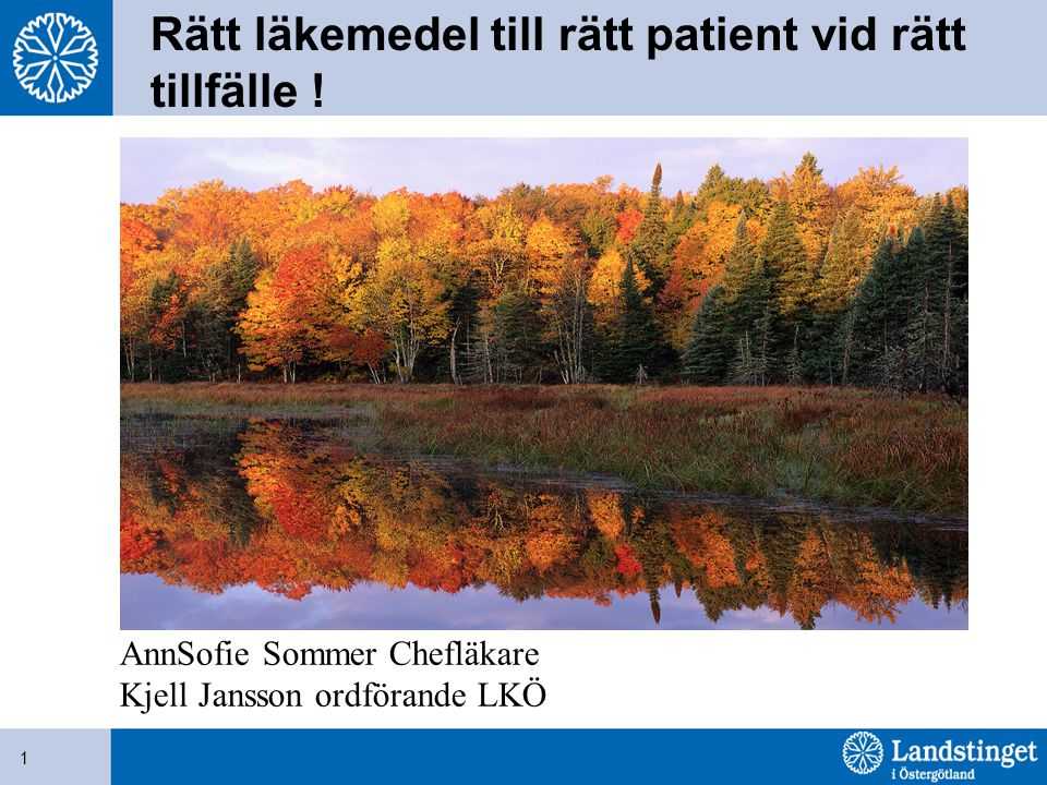 Rätt läkemedel till rätt patient vid rätt tillfälle !