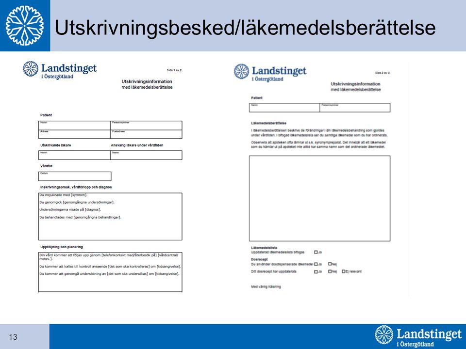 Utskrivningsbesked/läkemedelsberättelse