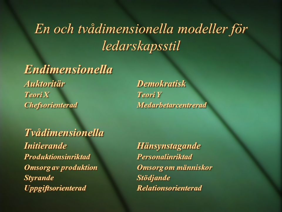 En och tvådimensionella modeller för ledarskapsstil