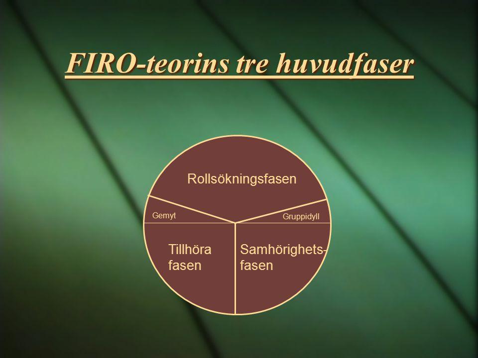 FIRO-teorins tre huvudfaser